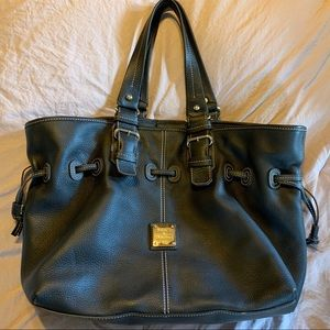 Dooney and Bourke black leather shoulder Hobo bag.